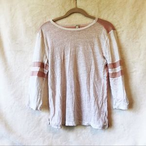 J. Crew White & Pink Striped Sleeve Baseball Shirt
